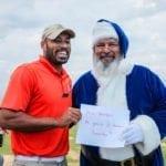 Blue Santa Golfer with Santa