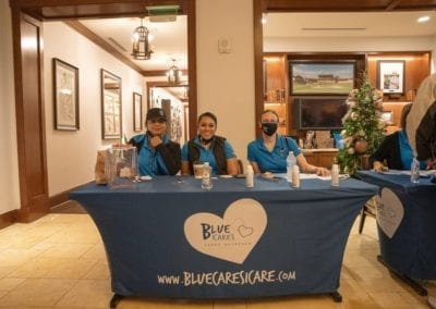 Blue Cares table