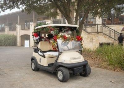 Blue Cares Santa golf cart