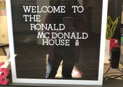 Welcome sign at The Ronald McDonald House