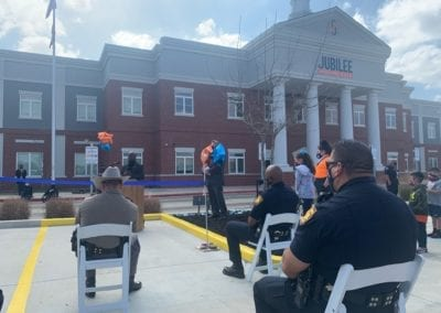 "Blue Cares attended a ribbon-cutting ceremony for the ""Designated Law Enforcement Parking Space"" at Jubilee-Highland Hills."