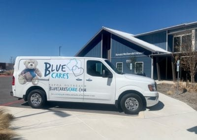 Blue Cares van at Ronald McDonald House